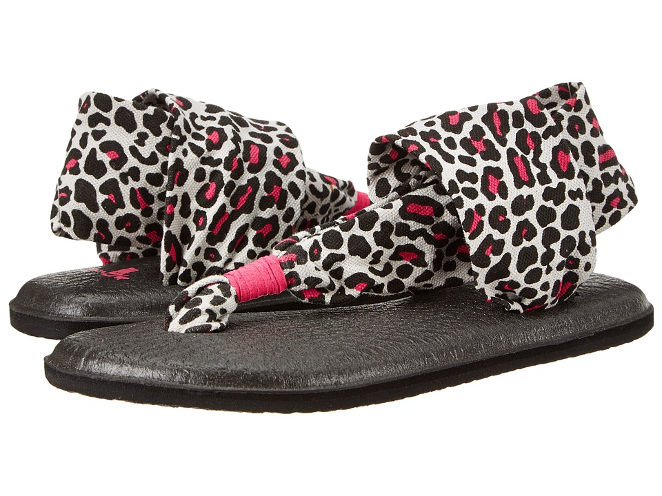 Sanuk Kids - Yoga Sling Girls (Little Kid/Big Kid) (Black/Fucshia/Cheetah) Girl