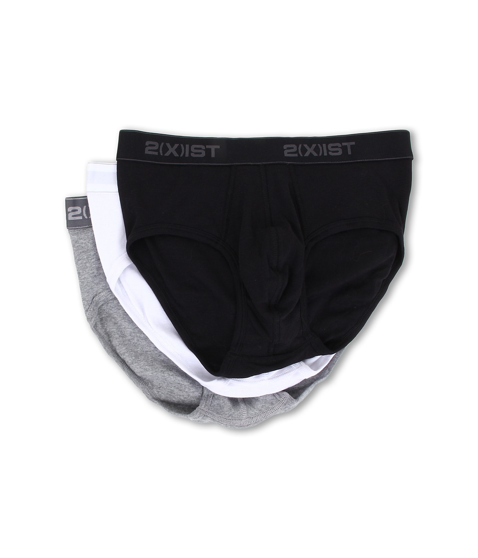 2(X)IST - 3-Pack ESSENTIAL Contour Pouch Brief (White/Black/Grey) Men's Underwear