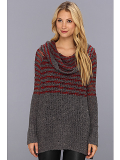 SALE! $59.99 - Save $68 on Free People Engineered Stripe Cowl Pullover (Charcoal Combo) Apparel - 53.13% OFF $128.00