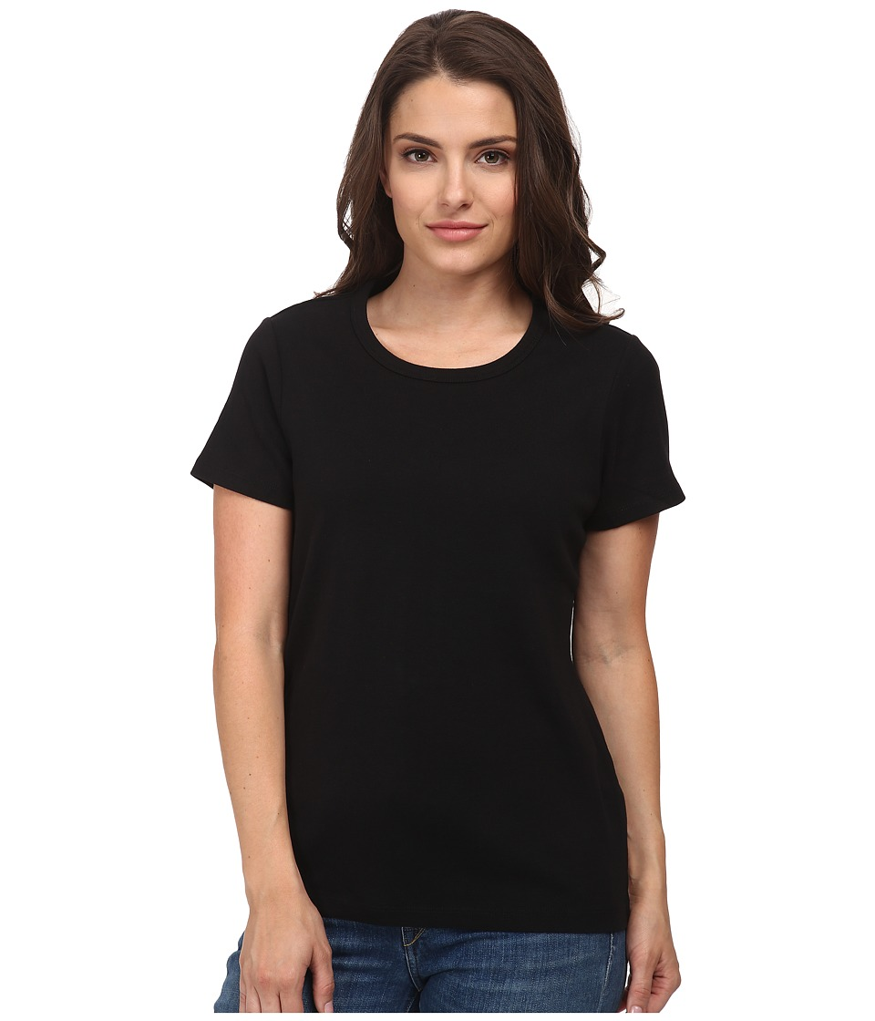 Pendleton - Petite S/S Rib Tee (Black) Women's Short Sleeve Pullover