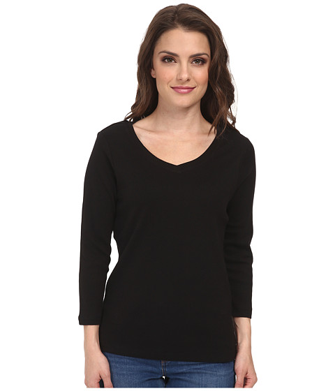 Pendleton - Petite 3/4 Sleeve Rib Tee (Black) Women's Long Sleeve Pullover
