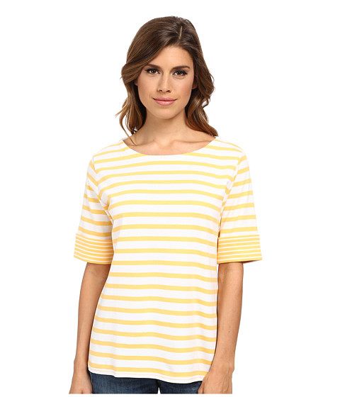 Pendleton - Roll Sleeve Stripe Rib Tee (Marigold/White) Women