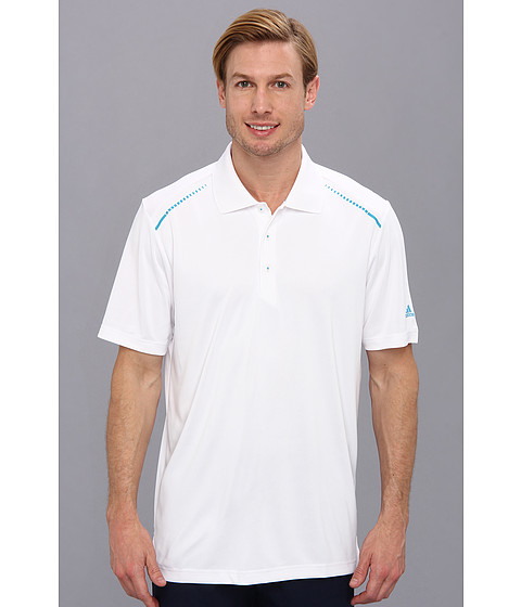 adidas Golf - CLIMACHILL Solid Polo '14 (White/Solar Blue) Men's Short Sleeve Pullover