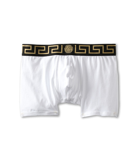 Versace - Iconic Long Boxer Brief with Black Band (White) Men's Underwear