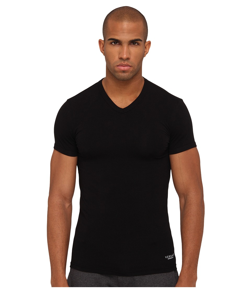 Versace - V-Neck Tee (Black) Men's T Shirt