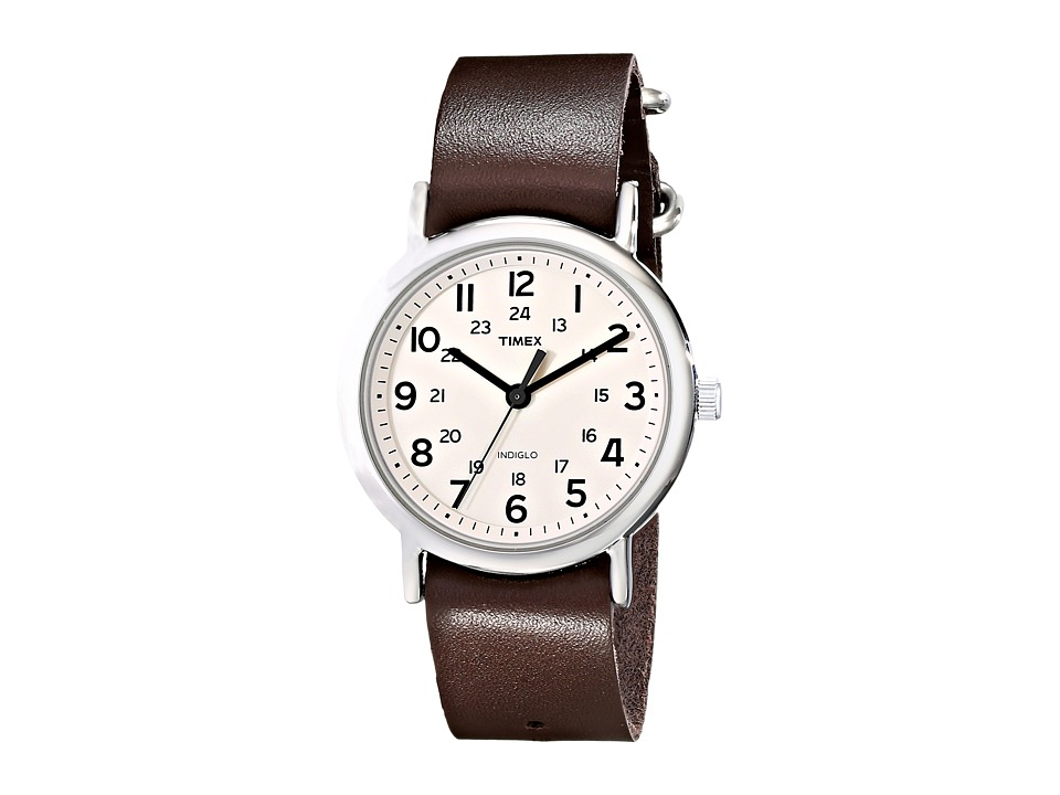 Timex - Weekender Full Size Slip Through Watch (Cream/Silver/Brown) Watches