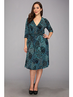 SALE! $29.99 - Save $68 on Kiyonna Essential Wrap Dress (Peacock Print) Apparel - 69.40% OFF $98.00