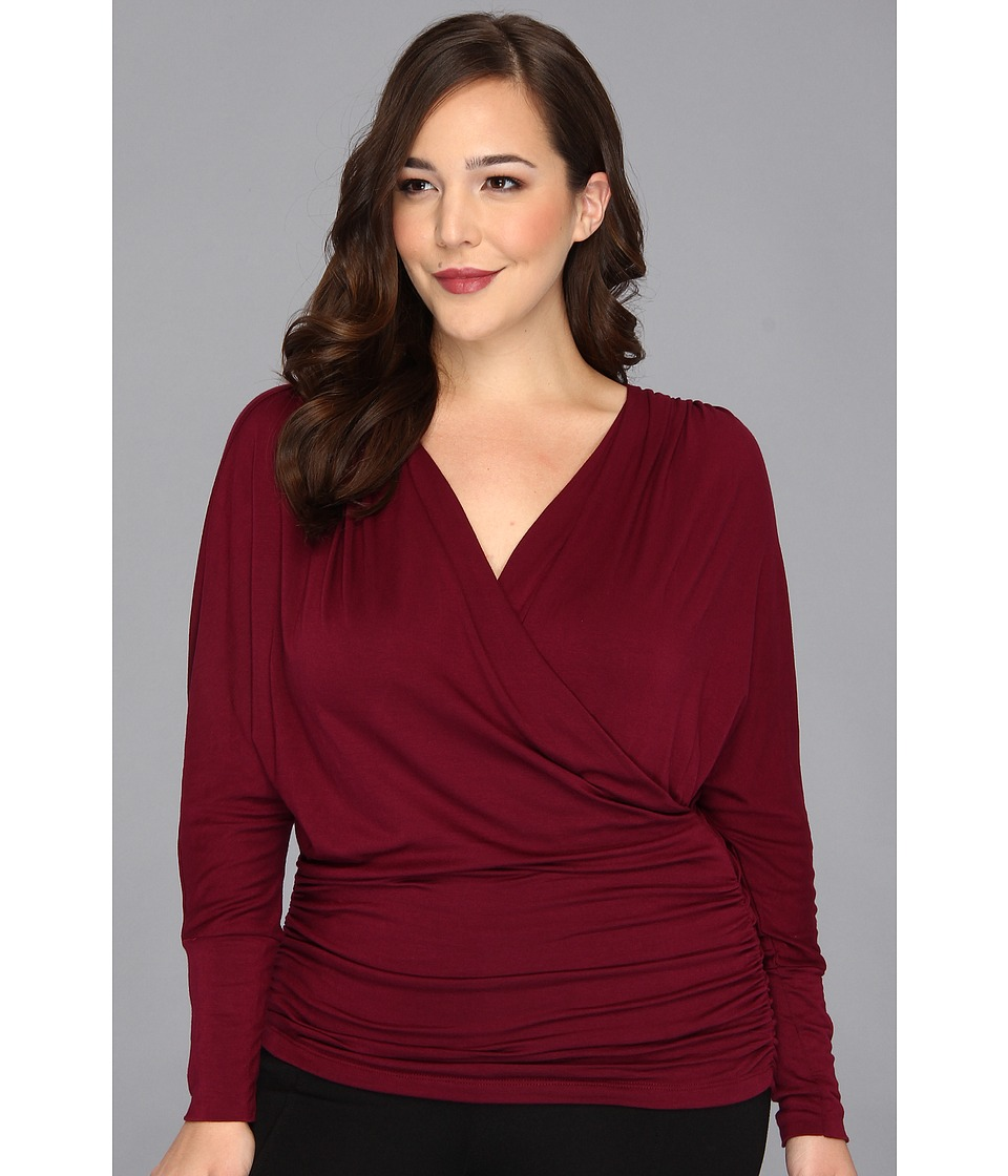 Kiyonna - Femme Faux Wrap Top (Burgundy) Women's Long Sleeve Pullover