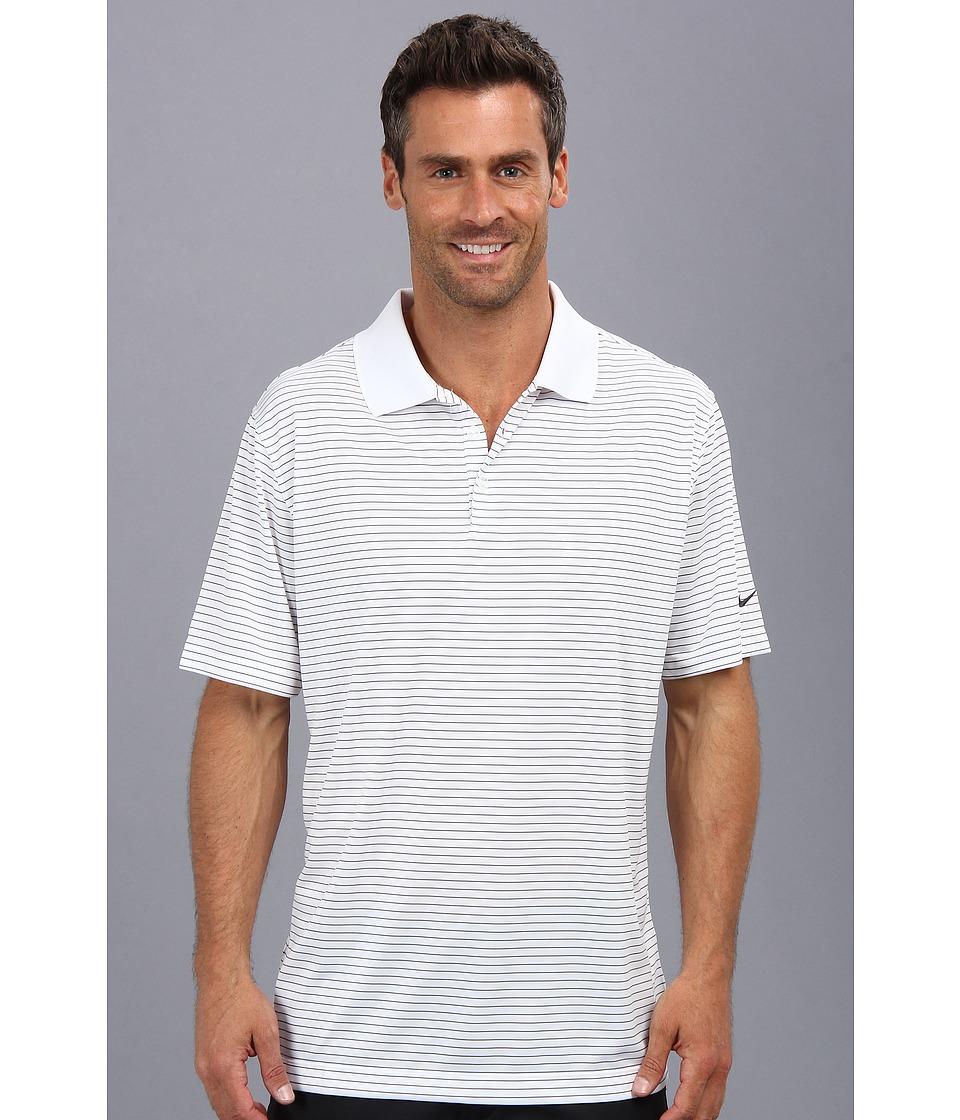 Nike Golf - Nike Victory Stripe Polo (White/Black) Men's Short Sleeve Pullover