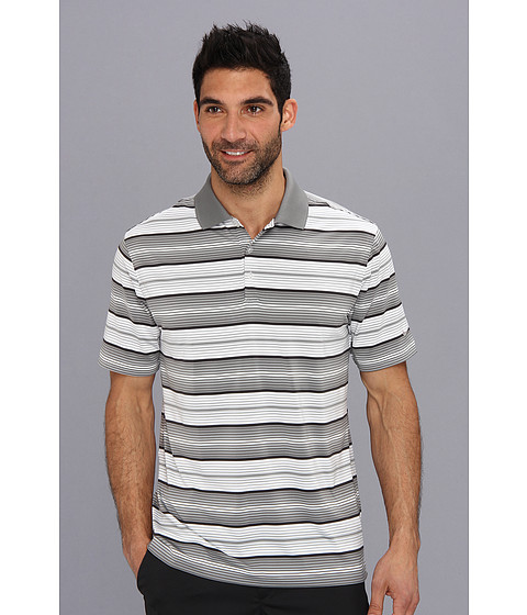 Nike Golf - Key Stretch UV Stripe Polo (Medium Base Grey/Metallic Silver) Men's Short Sleeve Knit