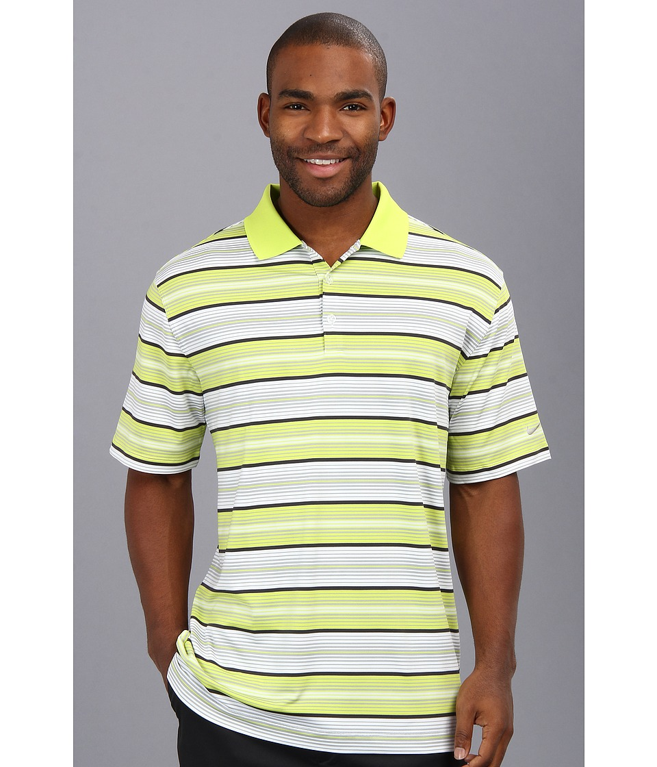 Nike Golf - Key Stretch UV Stripe Polo (Venom Green/Metallic Silver) Men's Short Sleeve Knit