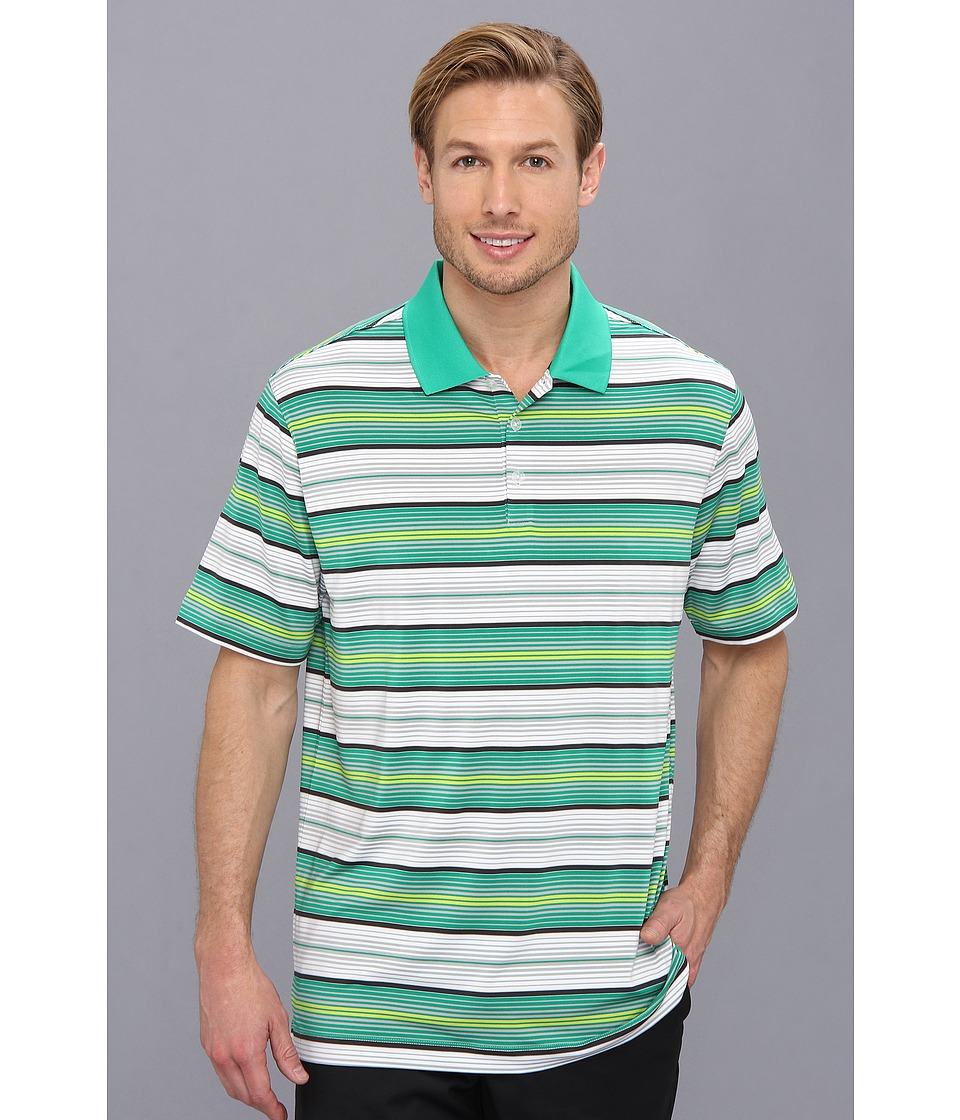 Nike Golf - Key Stretch UV Stripe Polo (Lucid Green/Metallic Silver) Men's Short Sleeve Knit