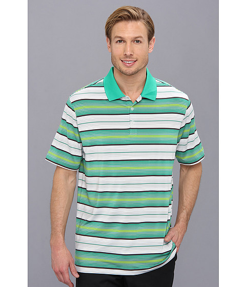 Nike Golf - Key Stretch UV Stripe Polo (Lucid Green/Metallic Silver) Men