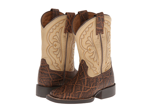 Ariat Kids - Quickdraw (Toddler/Little Kid/Big Kid) (Chestnut Elephant Print/Cream) Cowboy Boots
