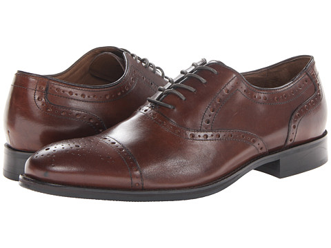 Johnston & Murphy - Tyndall Cap Toe (Mahogany Italian Calfskin) Men's Lace Up Cap Toe Shoes