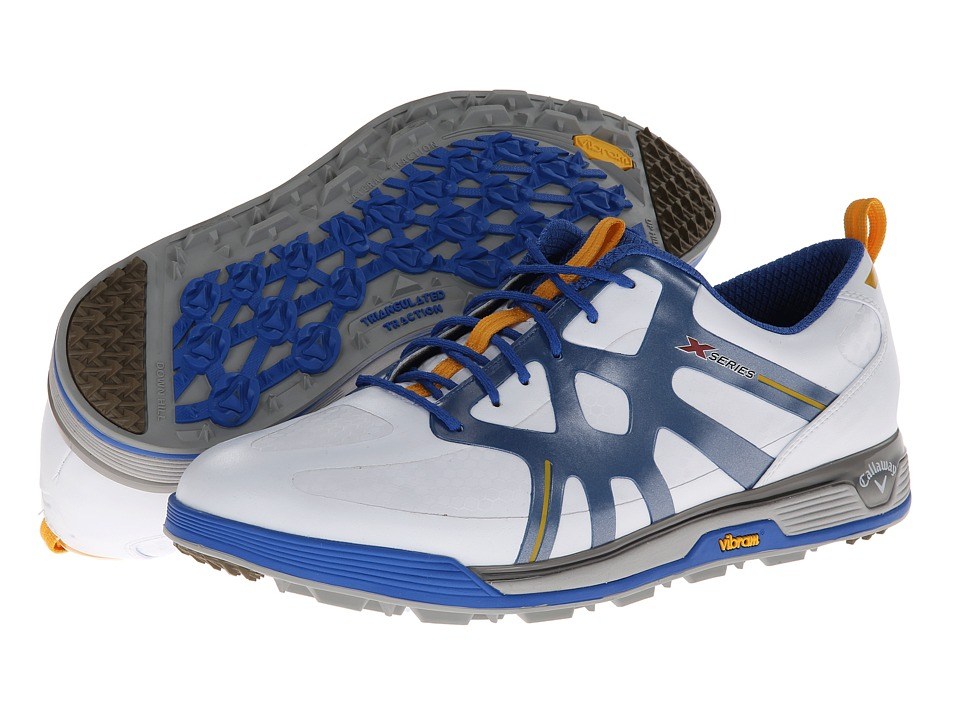 Callaway - X Cage Vibe (White/Blue) Men's Golf Shoes