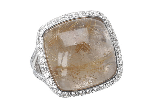 DeLatori - Golden Rutile and White Topaz Ring - 20-02-P424-34 (Sterling Silver/Golden Rutile) Ring