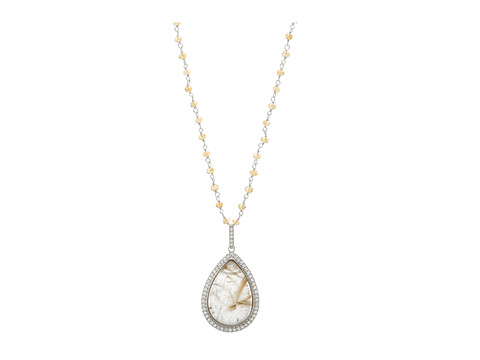 DeLatori - Golden Rutile Pendant with Citrine Chain Necklace- 80-02-P309-34 (Sterling Silver/Golden Rutile) Necklace