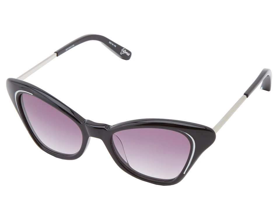 Elizabeth and James - Cypress (Shiny Black/Silver Foil Epoxy/Smoke Gradient) Fashion Sunglasses