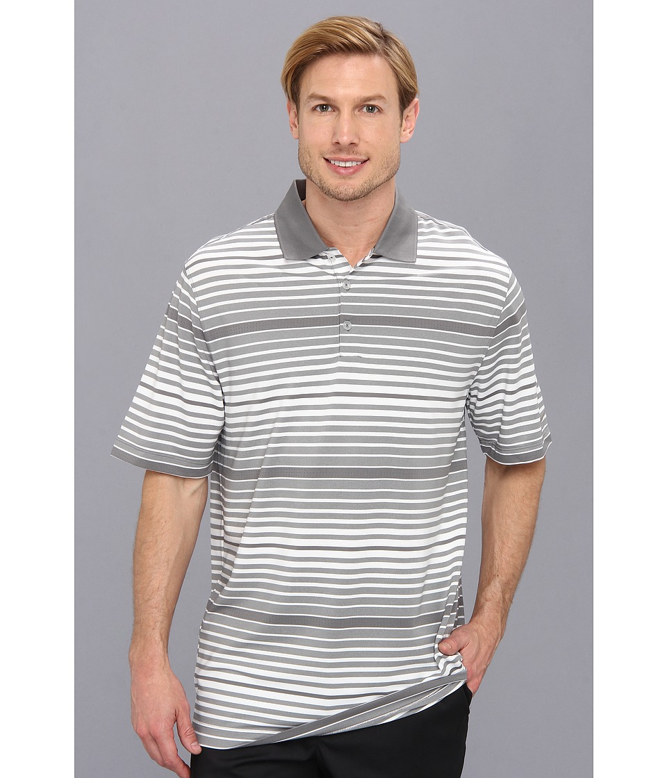 Nike Golf - Key Bold Heather Stripe Polo (Medium Base Grey/Medium Base Grey//Metallic Silver) Men