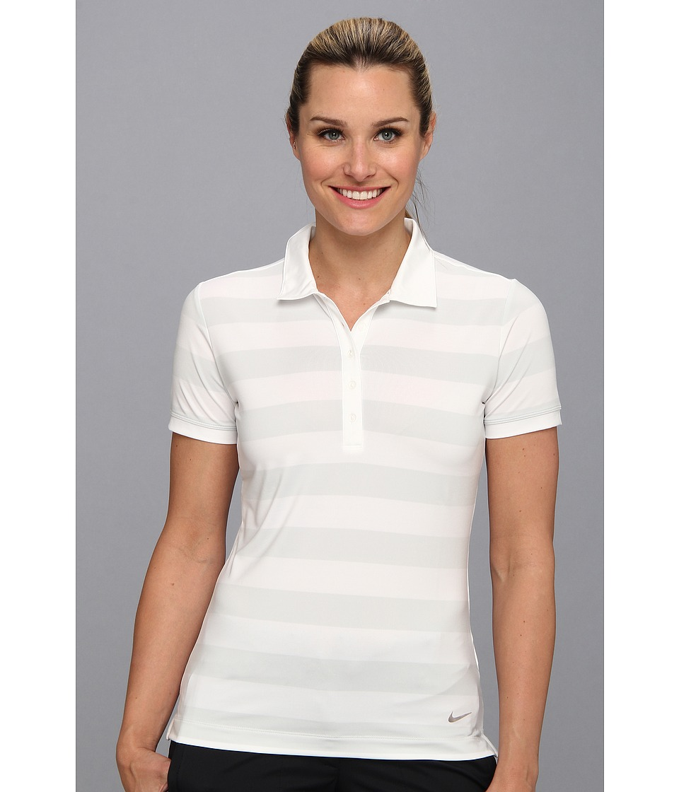 Nike Golf - Bold Stripe Polo (White/Metallic Silver) Women's Short Sleeve Pullover