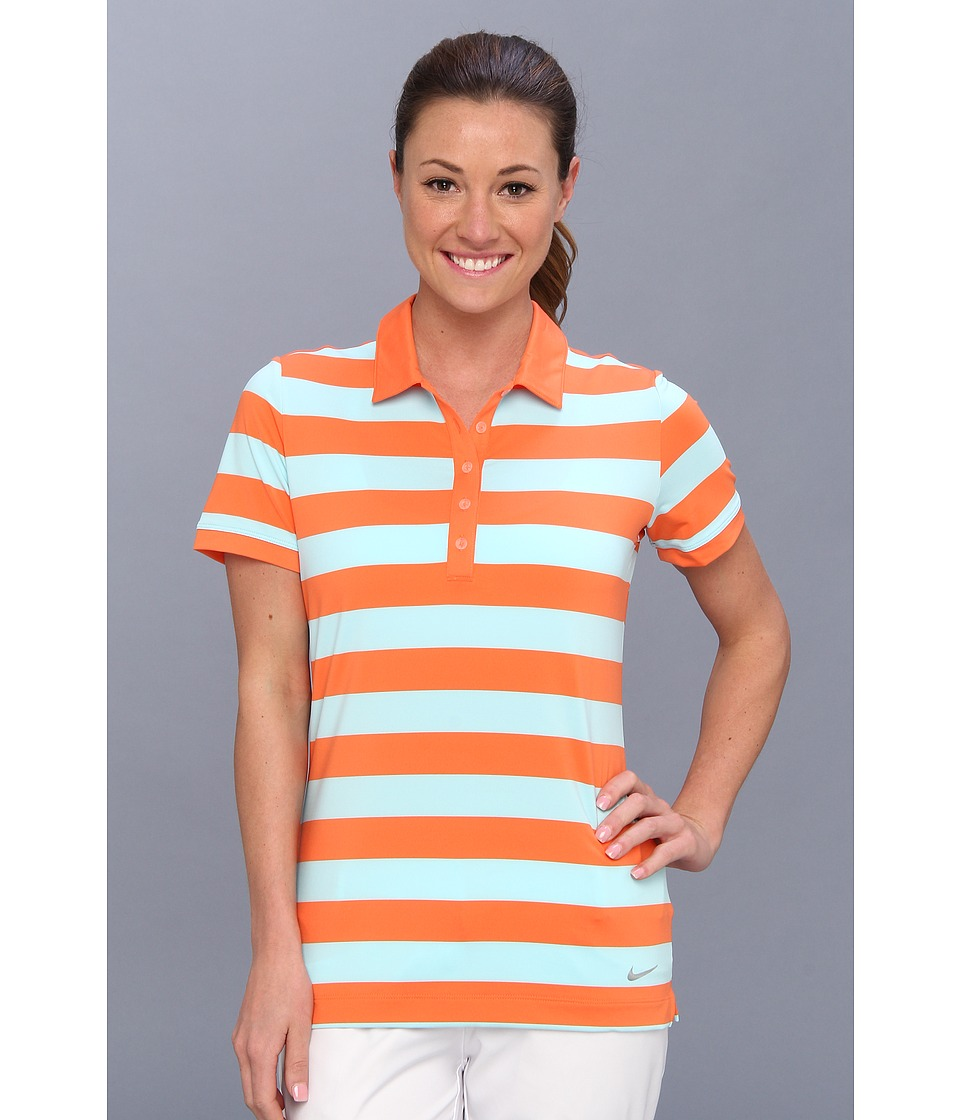 Nike Golf - Bold Stripe Polo (Turf Orange/Metallic Silver) Women