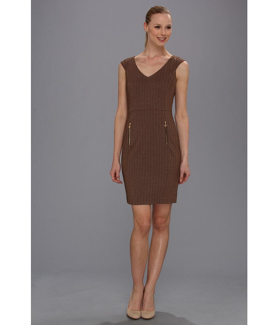 Anne Klein Herringbone Ponte Sheath Dress Womens Dress (Brown)