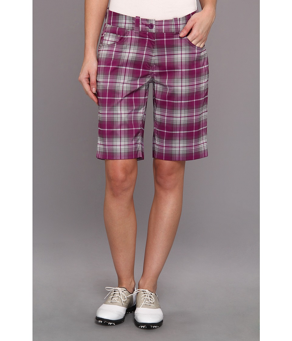 Nike Golf - Modern Rise Nike Plaid Short (Bright Grape/Metallic Silver) Women