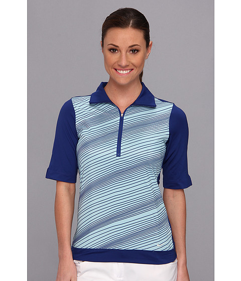 Nike Golf - Stripe Mock Polo (Deep Royal Blue/Glacier Ice/Deep Royal Blue/Metallic Silver) Women's Short Sleeve Pullover
