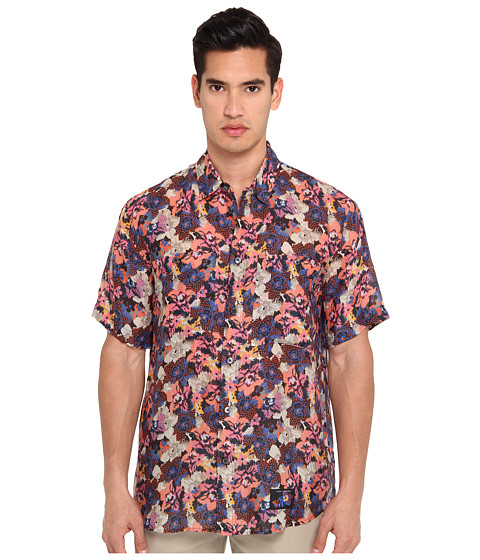 Marc Jacobs - Short Sleeve Tropical Floral Button Up (Black) Men's Short Sleeve Button Up
