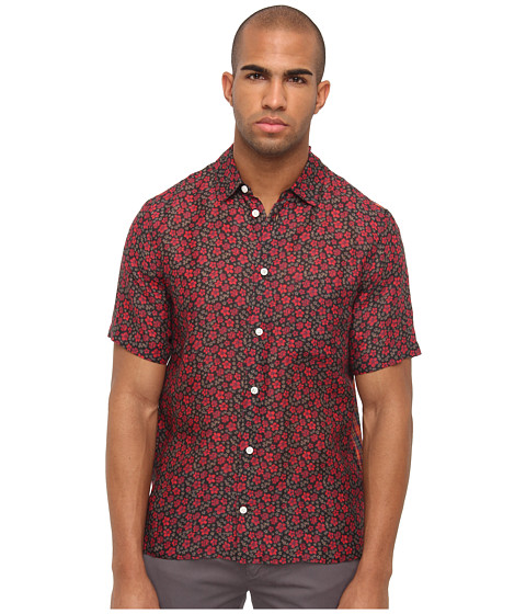 Marc Jacobs - Short Sleeve Floral/Plaid Button Up (Red Multi) Men