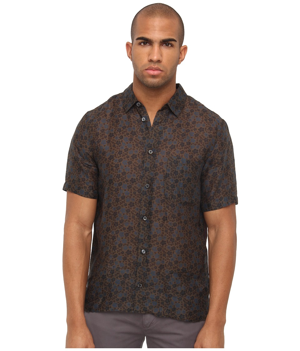 Marc Jacobs - Short Sleeve Floral/Plaid Button Up (Navy Multi) Men