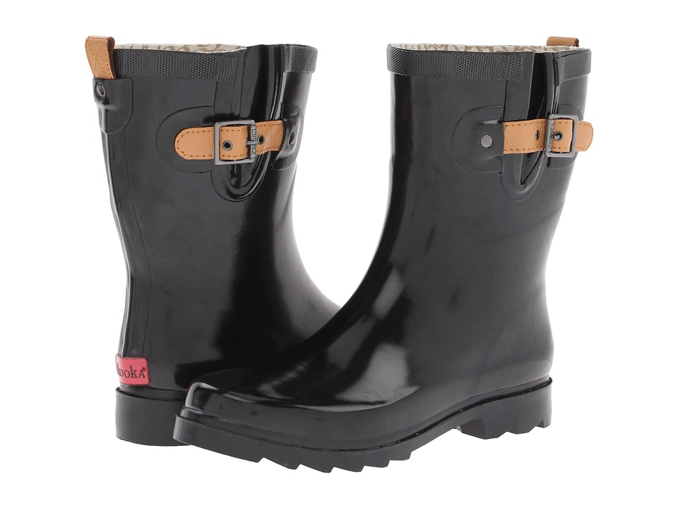 Chooka - Top Solid Mid Gloss (Black) Women's Rain Boots