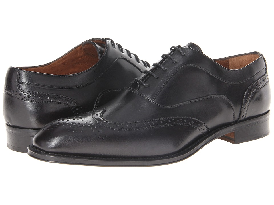 Massimo Matteo - 5-Eye Bal Wing Tip (Black) Men's Lace Up Wing Tip Shoes