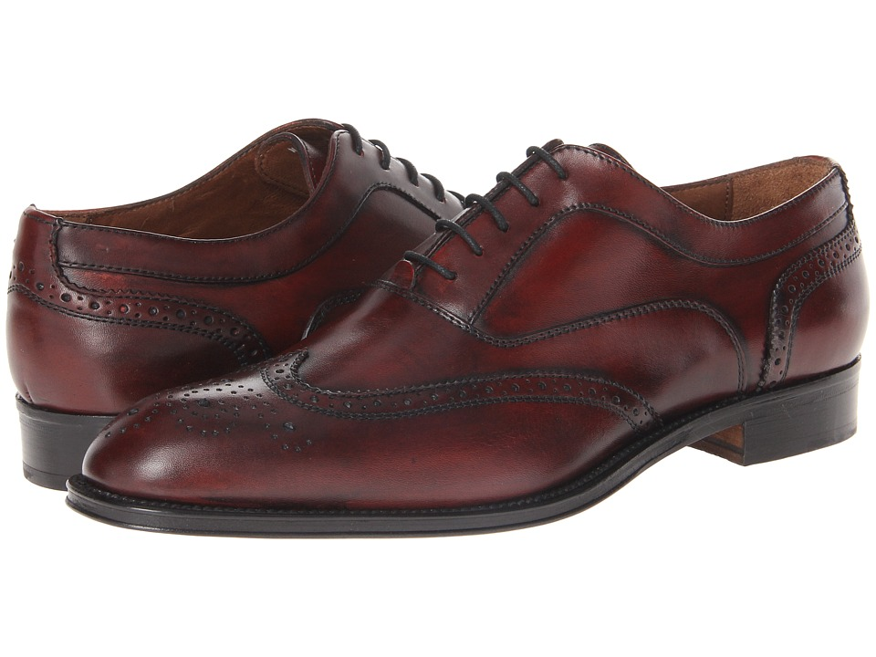 Massimo Matteo - 5-Eye Bal Wing Tip (Bordo) Men's Lace Up Wing Tip Shoes