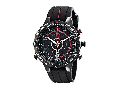 Timex - Intelligent Quartz Adventure Series Tide Temp Compass Silicone Strap Watch (Black/Red) Watches
