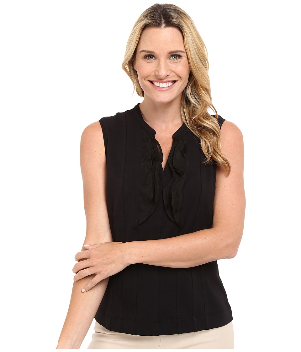 NIC+ZOE - Softly Ruffled Top (Black Onyx) Women's Blouse
