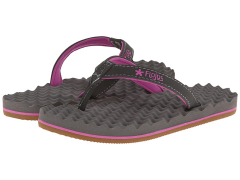 Flojos Kids - Flora (Toddler/Little Kid/Big Kid) (Charcoal/Fuchsia) Girl
