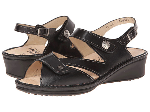 Finn Comfort - Santorin (Black Nappa Leather) Women's Sandals