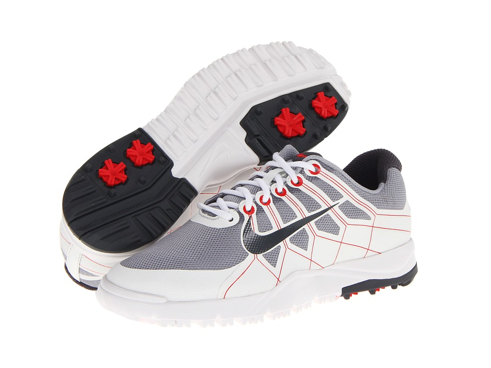 Nike Golf - Range Jr. (Little Kid/Big Kid) (Wolf Grey/Summit White/Hyper Red/Dark Grey) Men's Golf Shoes