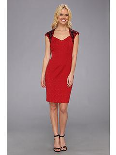 SALE! $39.99 - Save $86 on Maggy London Baroque Jacquard Embellished Shoulder Dress (Red) Apparel - 68.26% OFF $126.00