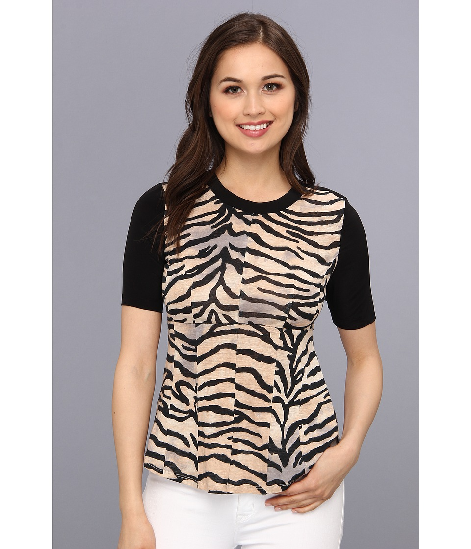 Rebecca Taylor - S/S Jersey Combo Top (Natural) Women's T Shirt