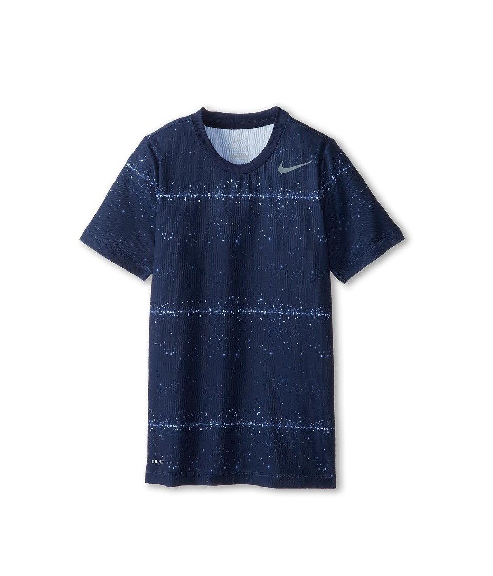 Nike Kids - Rally Sphere Stripe Crew (Little Kids/Big Kids) (Midnight Navy/Cool Grey) Boy's Short Sleeve Pullover
