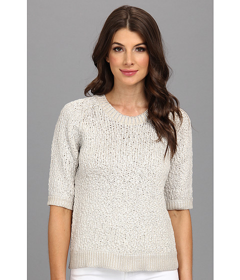Rebecca Taylor - S/S Foil Print Sweater (Dove/Silver) Women