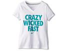 Nike Kids Crazy Wicked Fast V-Neck Tee (Little Kids/Big Kids) (White/Dark Grey Heather)