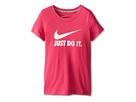 Nike Kids JDI Swoosh Gradient Tee (Little Kids/Big Kids) (Vivid Pink/Dark Grey Heather)