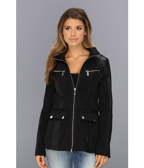 DKNY - Short Zip Front Soft Shell (Black) Women's Coat