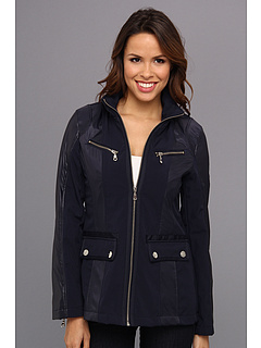 SALE! $51.99 - Save $43 on DKNY Short Zip Front Soft Shell (Navy) Apparel - 45.27% OFF $95.00