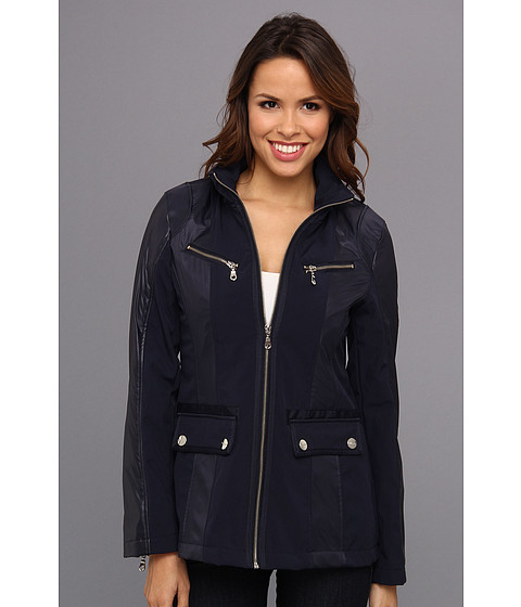 DKNY - Short Zip Front Soft Shell (Navy) Women's Coat