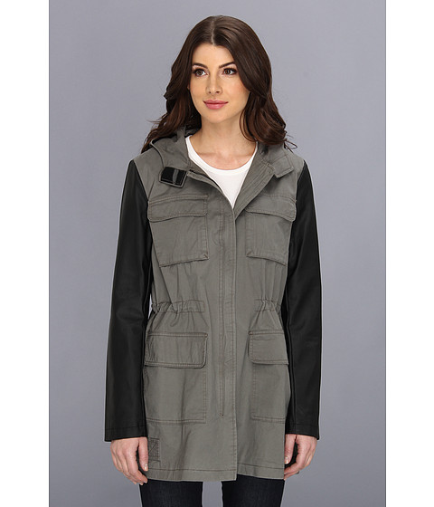 DKNY - Four-Pocket Anorak w/ Faux Leather Sleeves (Pewter) Women
